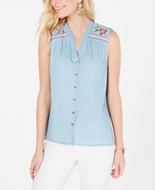 Style & Co Embroidered Button-Up Top, Created for Macy's