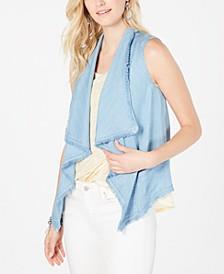 Draped-Front Frayed-Hem Vest, Created for Macy's