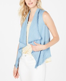 Style & Co Draped-Front Frayed-Hem Vest, Created for Macy's