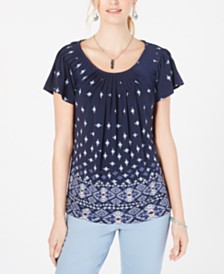 Style & Co Pleated Scoop-Neck Top, Created for Macy's