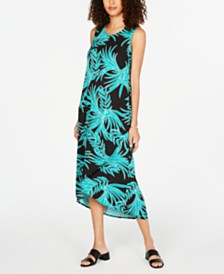 Alfani Leaf-Print Tulip-Hem Maxi Dress, Created for Macy's