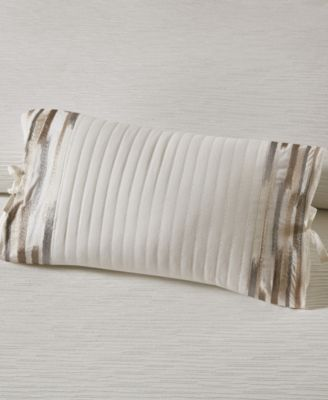 "N Natori Hanae 12"" x 20"" Embroidered Cotton Oblong Decorative Pillow"