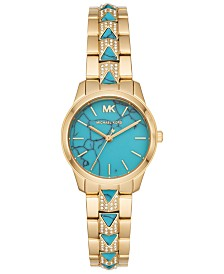 Michael Kors Women's Petite Runway Mercer Gold-Tone Stainless Steel Bracelet Watch 28mm