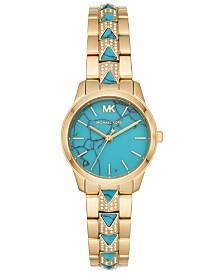 Michael Kors Women's Petite Runway Mercer Gold-Tone Stainless Steel Bracelet Watch 28mm