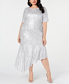 Plus Size Sequined Asymmetrical Midi Dress