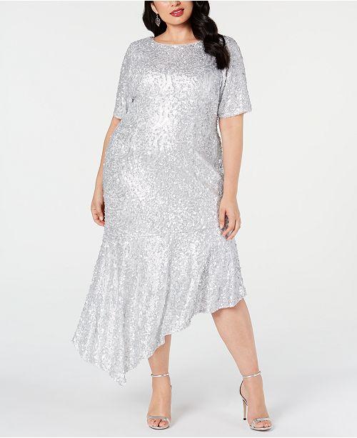 Plus Size Sequined Asymmetrical Midi Dress