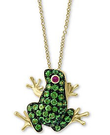 """EFFY® Tsavorite (1/3 ct. t.w.) & Ruby Accent Frog 18"""" Pendant Necklace in 14k Gold"""