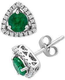 EFFY® Emerald (9/10 ct. t.w.) & Diamond (1/6 ct. t.w.) Stud Earrings in 14k White Gold