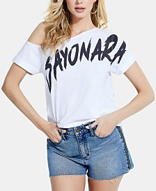GUESS Off-The-Shoulder Cotton Graphic T-Shirt