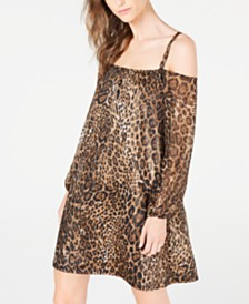 I.N.C. Cold-Shoulder Animal-Print Dress, Created for Macy's