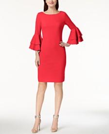 Calvin Klein Tiered-Bell-Sleeve Sheath Dress