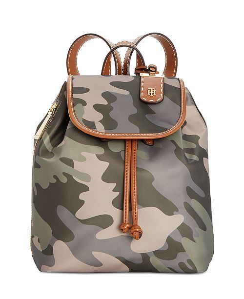 Tommy Hilfiger Julia Nylon Camo Drawstring Backpack