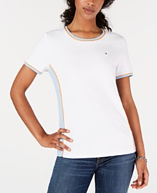 Tommy Hilfiger Striped Contrast T-Shirt, Created for Macy's