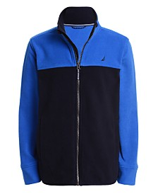 Nautica Big Boys Grant Red Colorblocked Full-Zip Fleece Jacket