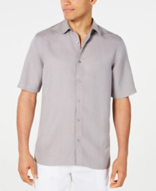 Alfani Men's Lagoon Stretch Linen Blend Shirt, Created for Macy's