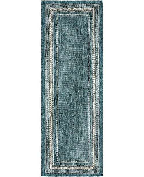 Bridgeport Home Pashio Pas5 Teal 2' x 6' Runner Area Rug