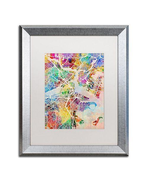 """Trademark Global Michael Tompsett 'Boston MA Street Map' Matted Framed Art - 16"""" x 20"""""""