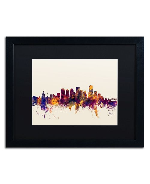 "Trademark Global Michael Tompsett 'Edmonton Canada Skyline' Matted Framed Art - 16"" x 20"""
