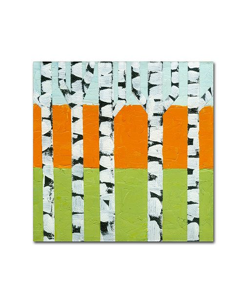 "Trademark Global Michelle Calkins 'Seasonal Birches - Spring' Canvas Art - 18"" x 18"""