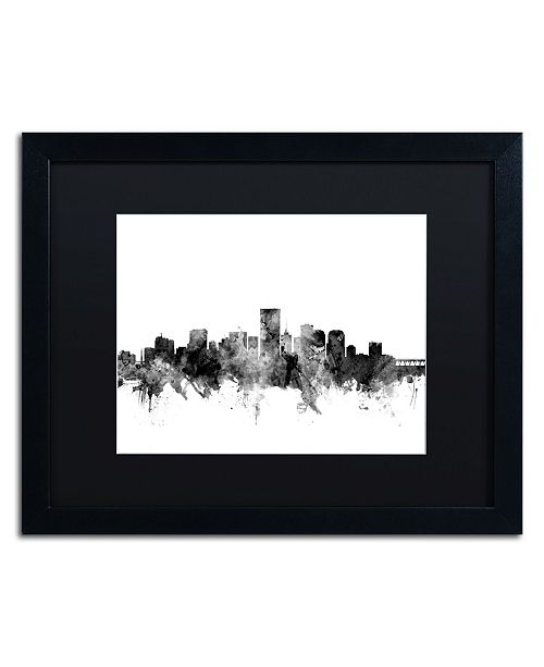"Trademark Global Michael Tompsett 'Richmond Virginia Skyline B&W' Matted Framed Art - 16"" x 20"""