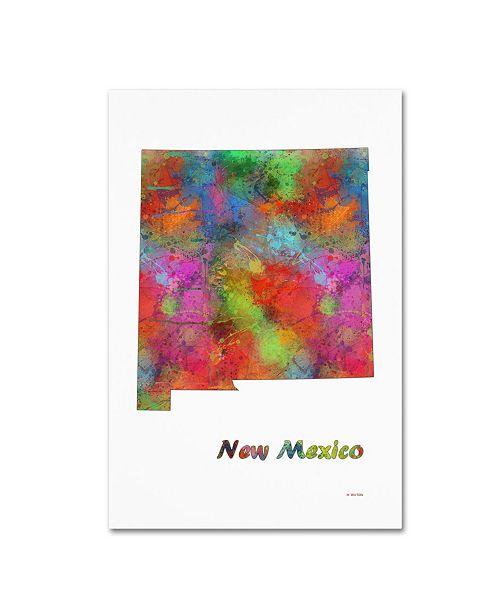 "Trademark Global Marlene Watson 'New Mexico State Map-1' Canvas Art - 16"" x 24"""