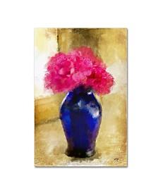 "Lois Bryan 'Pink Carnations in Cobalt Blue Vase' Canvas Art - 12"" x 19"""