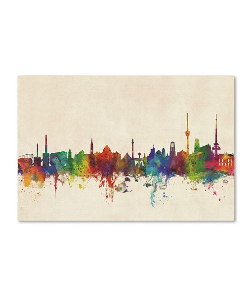 "Trademark Global Michael Tompsett 'Stuttgart Germany Skyline' Canvas Art - 16"" x 24"""