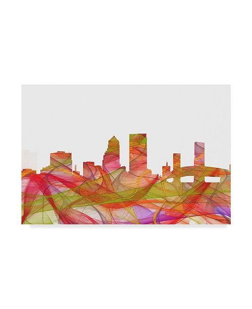 "Trademark Global Marlene Watson 'Jacksonville Florida Skyline' Canvas Art - 16"" x 24"""