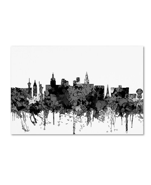 "Trademark Global Marlene Watson 'Las Vegas Nevada Skyline BW' Canvas Art - 16"" x 24"""