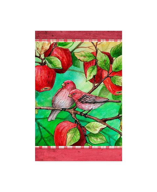 "Trademark Global Melinda Hipsher 'Red Finches With Apples' Canvas Art - 16"" x 24"""