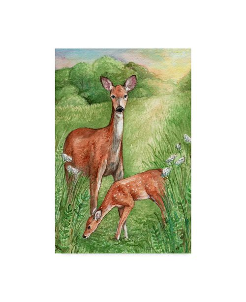 """Trademark Global Melinda Hipsher 'New Mother And Fawn' Canvas Art - 16"""" x 24"""""""