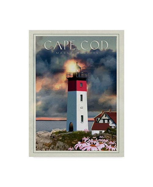 """Trademark Global Old Red Truck 'CapeCod' Canvas Art - 18"""" x 24"""""""