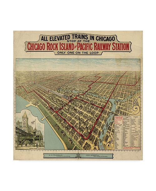 "Trademark Global Vintage Lavoie 'The Chicago El 1897' Canvas Art - 18"" x 18"""