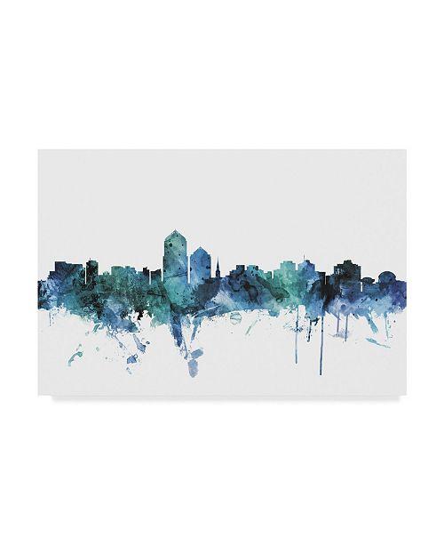 "Trademark Global Michael Tompsett 'Albuquerque New Mexico Blue Teal Skyline' Canvas Art - 19"" x 12"""