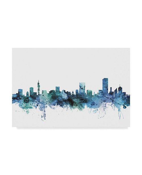 "Trademark Global Michael Tompsett 'Pretoria South Africa Blue Teal Skyline' Canvas Art - 19"" x 12"""