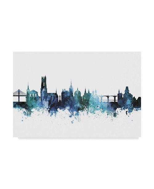 "Trademark Global Michael Tompsett 'Fribourg Switzerland Blue Teal Skyline' Canvas Art - 19"" x 12"""
