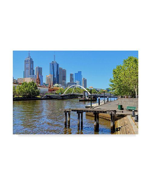 "Trademark Global Incredi 'Melbourne Lake' Canvas Art - 19"" x 12"""