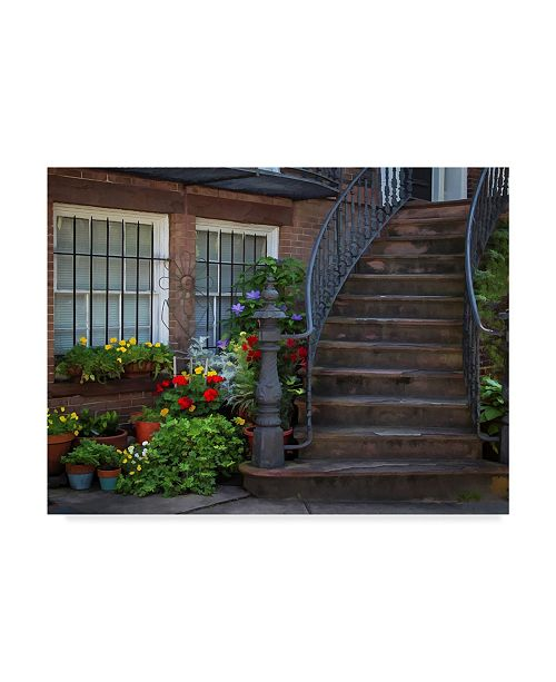 "Trademark Global J.D. Mcfarlan 'Townhouse Steps' Canvas Art - 19"" x 14"""