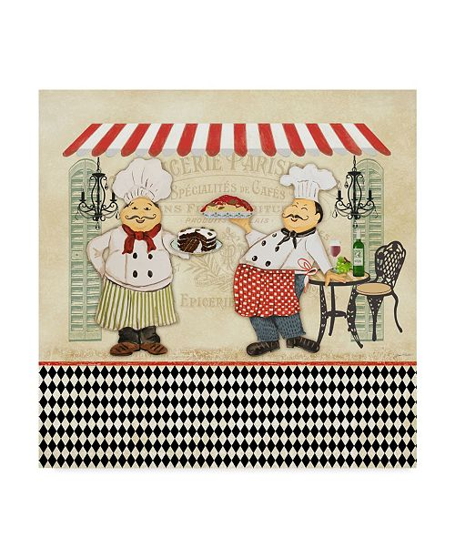"""Trademark Global Jean Plout 'French Cafe Chefs' Canvas Art - 24"""" x 24"""""""