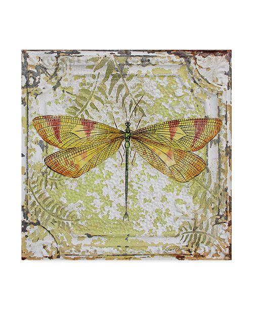 """Trademark Global Jean Plout 'Dragonfly On Tin Tile 1' Canvas Art - 18"""" x 18"""""""