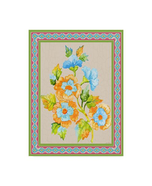 """Trademark Global Jean Plout 'Fiesta Floral Tapestry 2' Canvas Art - 24"""" x 32"""""""