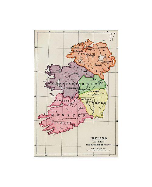 "Trademark Global William Brenton Boggs 'Map Of Ireland, 1588 To 1610' Canvas Art - 16"" x 24"""