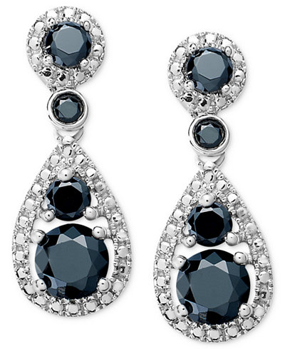 Sterling silver earrings black diamond pear cut earrings for Macy s jewelry clearance