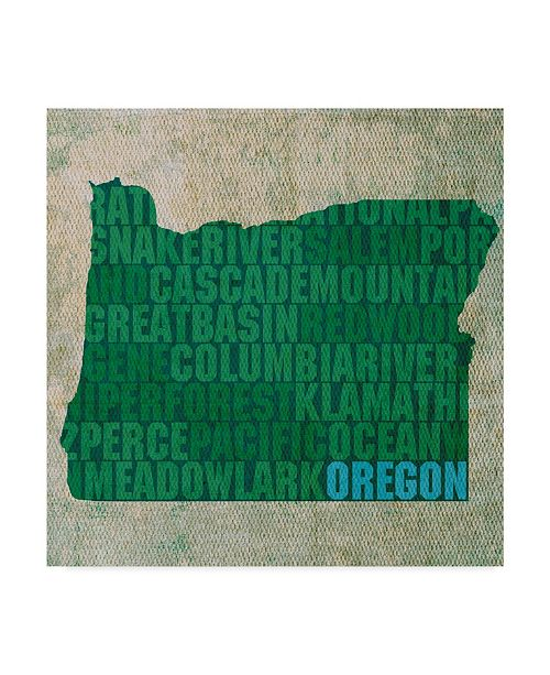 "Trademark Global Red Atlas Designs 'Oregon State Words' Canvas Art - 14"" x 14"""