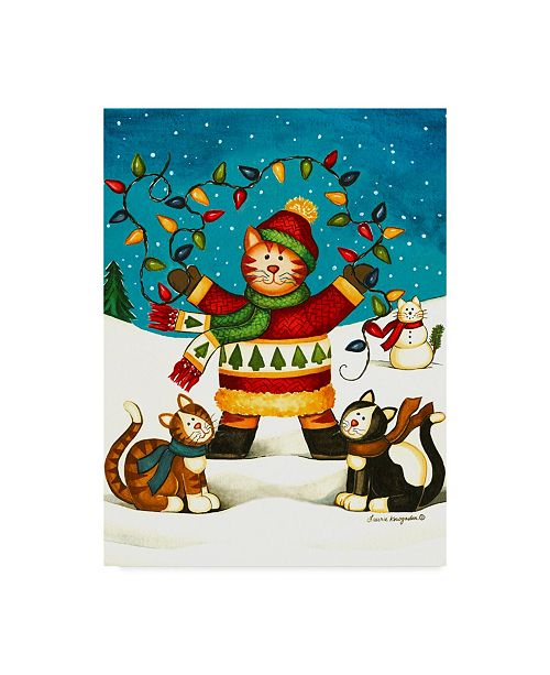 "Trademark Global Laurie Korsgaden 'Cats In Sweaters' Canvas Art - 24"" x 32"""