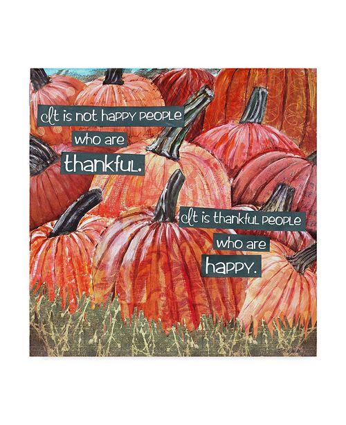 "Trademark Global Let Your Art Soar 'Thankful Pumpkins Phrase' Canvas Art - 14"" x 14"""