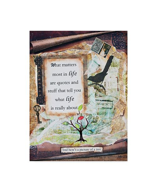 "Trademark Global Let Your Art Soar 'Tree Of Life Phrase' Canvas Art - 18"" x 24"""