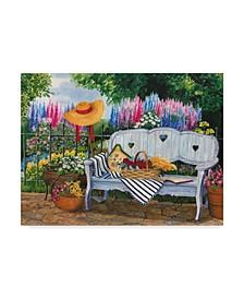 "Mary Irwin 'Garden Bench Floral' Canvas Art - 19"" x 14"""