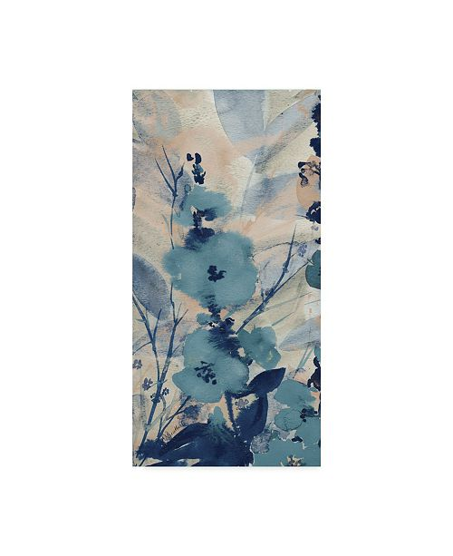 "Trademark Global Marietta Cohen Art And Design 'Blue Floral Textile 2' Canvas Art - 12"" x 24"""
