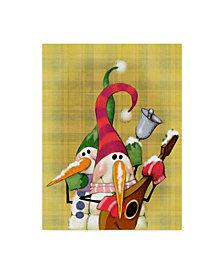 """Margaret Wilson 'Snowman Mandolin' Canvas Art - 24"""" x 32"""""""